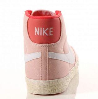 Scarpe Nike Blazer Mid Canvas Vintage Uomo Donna Rosa Bianco Nuovo