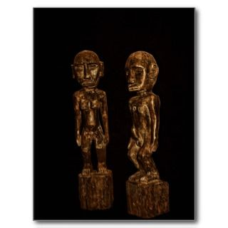 Antique wood carved figures post cards