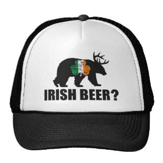 Irish Beer? Ireland Flag Shamrock Bear Deer Hat