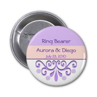 Fairy Tale Purple Wedding Party Pinback Button