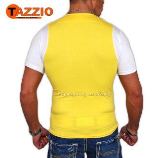 TAZZIO T SHIRT + WESTE 2in1 STYLE GELB   WEIß S M L XL