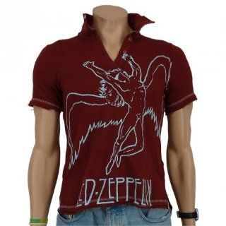 Led Zeppelin   Swansong Band Girlie Polo Shirt, weinrot