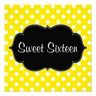 Yellow Polka Dot Sweet 16 Birthday Party Invites