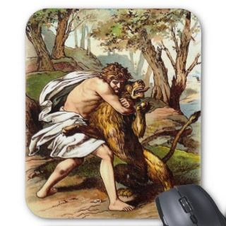 Samson And The Lion Mouse Mat