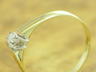 14kt 585 GOLD RING MIT 0,02ct. BRILLANT SOLITÄR BESATZ DIAMANTRING