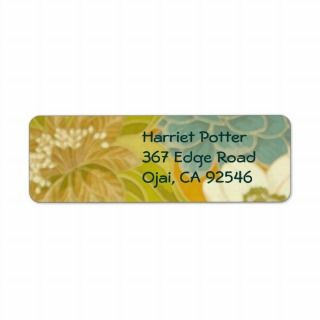 Vintage Floral Wallpaper, Turquoise Green & Brown Return Address Label