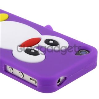 Penguin Purple Silicone Case+Bling Glitter Guard Protector For iPhone