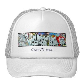 Traditional white cap with graffiti mesh hat