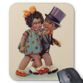 cute black americana couple mousepad