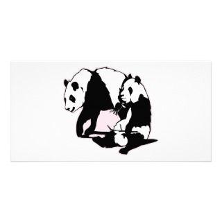 Cute Panda Bears Photo Card Template