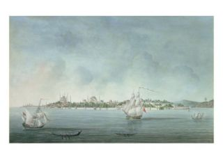 View of Sultan Ahmet and Santa Sophia from Uskudar, in Constantinople Giclee Print by Jean baptiste Hilaire