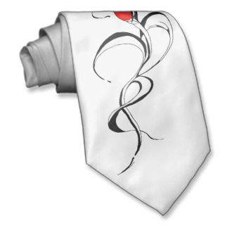 Red Rose Lady Tribal Tattoo for Valentines Day Necktie