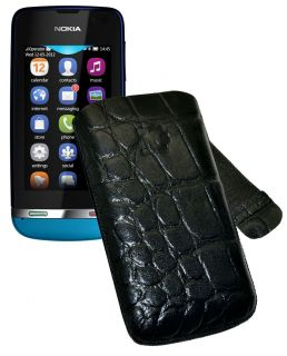 Nokia Asha 311   Leder Etui Handytasche Schutzhülle Cover in CROCO