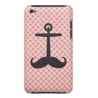 Funny black mustache anchor retro pink polka dots Case Mate iPod touch