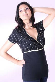 Sugarshock 50er retro Polka Dots Pin Up Rockabilly Spitzen Shirt