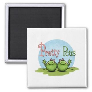 Pretty peas   veggies twin girls fridge magnet