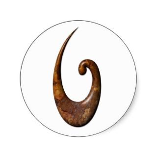 Maori Fish Hook   Rust Sticker