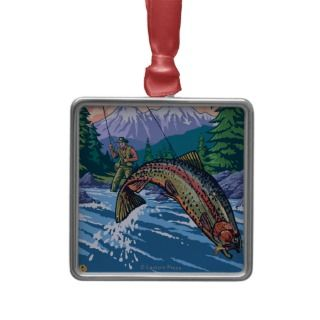 Fly Fishing Scene   Ketchikan, Alaska Ornaments