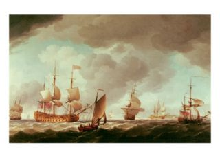 An English Vice Admiral of the Red and His Squadron at Sea, C.1750 59 Giclee Print by Charles Brooking