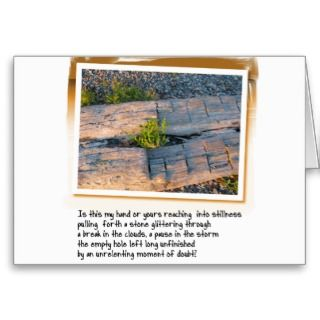Love Poem and Log on Beach Greeting Cards