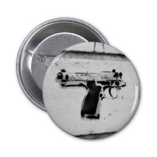 backwards gun stencil graffiti art button