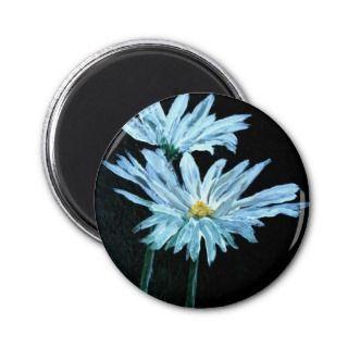 oil painting of white daisy flowers modern art fridge magnet