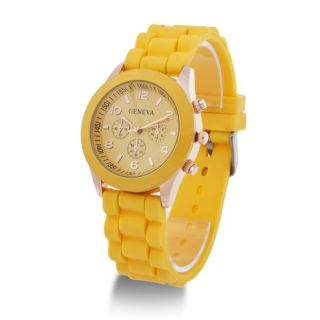 Fashion Luxury Geneva Silicone Quartz Ladies Women Men Girl Jelly