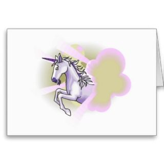 unicorn leaping through sunbeams card