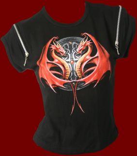 Gothic Top Shirt Bluse Drache Drachen Kelten schwarz Girlie 38   40 L