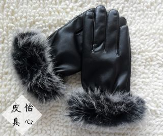 EGP05 Winter Warm Lady Faux Leather Faux Rabbit fur Mittens Gloves