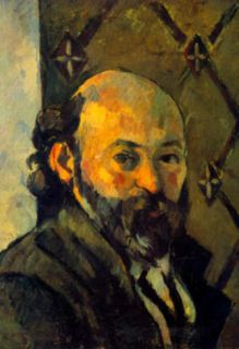 Paul Cezanne Self portrait in Front of Wallpaper Art Print Poster Masterprint
