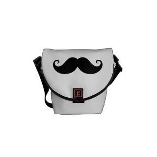 Funny black handlebar mustache trendy hipster courier bag