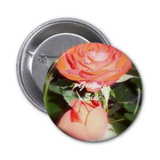 Grooms Side Button/Badge Romantic Rose