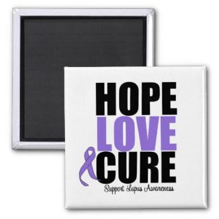 Lupus Hope Love Cure Fridge Magnets