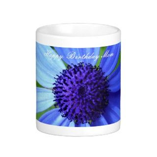 Blue Daisy, Happy Birthday Mom Coffee Mugs