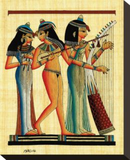 Egyptian Musicians Stretched Canvas Print