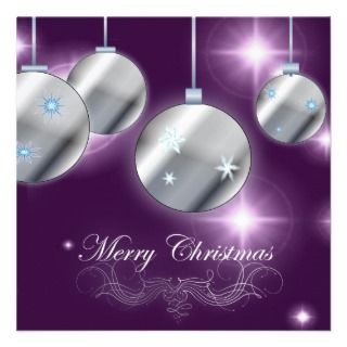 Purple Silver Corporate Christmas Party Invitation