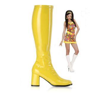 GoGo Stiefel Stretchlack Hippie 70er Retro gelb Lackstiefel Gr. 42 (US
