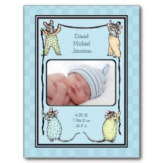 Vintage Mouse Baby Boy Birth Announcement Photo Post Cards