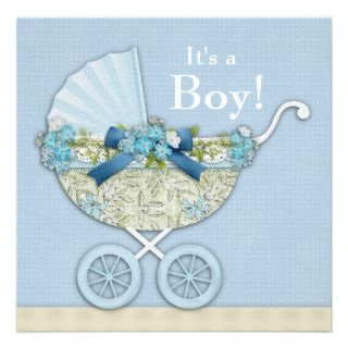 Blue Baby Carriage Boy Shower Custom Announcements