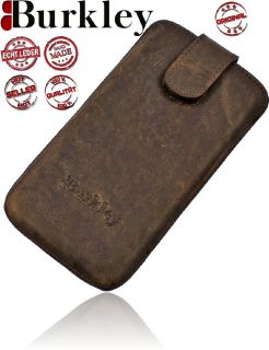 Burkley ANTIK GREY Leder Tasche für Samsung Galaxy S3 Mini Case Etui