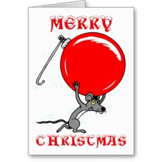 Funny Merry Christmas Mouse Cartoon Greeting Card