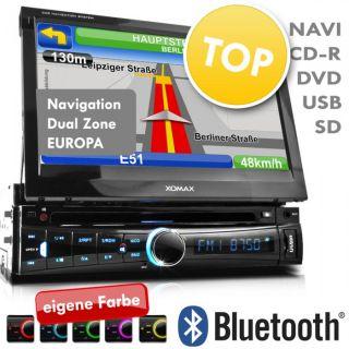 HD 18cm/7 GPS DVD CD Navigation Dual Zone AUTORADIO USB SD Bluetooth