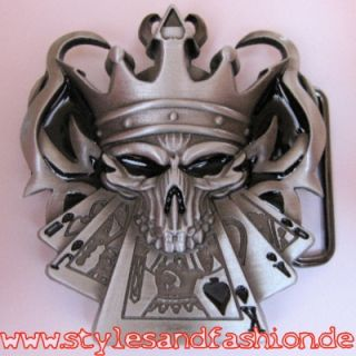 Gürtelschnalle Buckle Harlekin Poker Skull NEU USA King