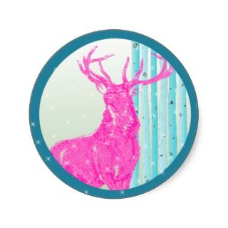 Vintage Hot Pink Deer Aqua Birch Tree Snowflake Sticker