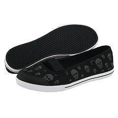 VANS Skull Black Gun Metal Gisele Shoes Sneakers Mary Janes sizes 8