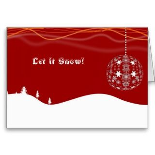 Let it snow Red & White Christmas greeting cards
