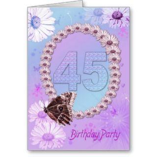 45th Birthday party Invitation Card