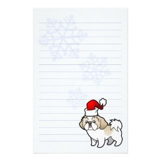 Christmas Shih Tzu (silver parti puppy cut) stationery by SugarVsSpice