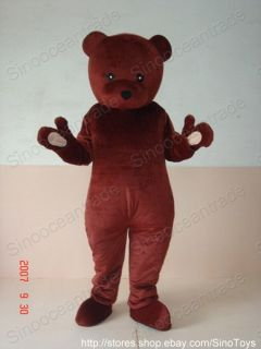 DARK BROWN TEDDY BEAR AULT SIZE CARTOON MASCOT COSTUME